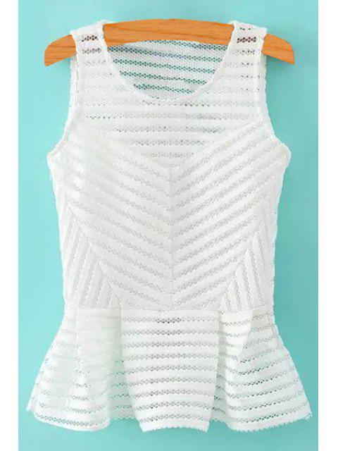 women's Stripe Openwork Solid Color Tank Top - WHITE S Mobile
