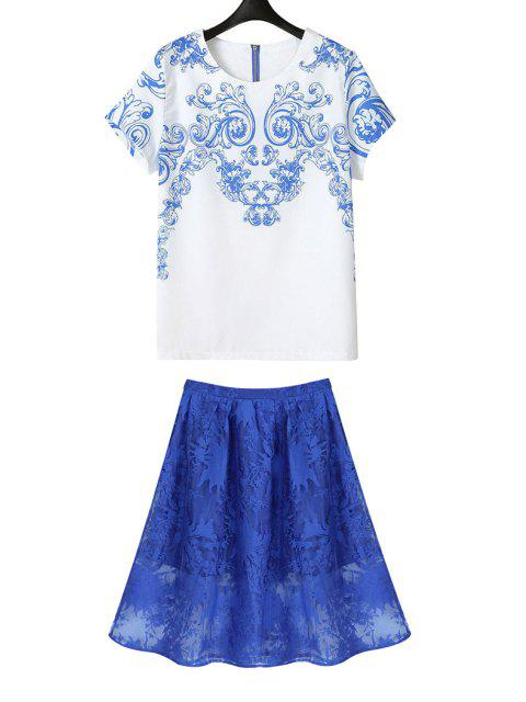 shop Blue Print Short Sleeve T-Shirt + Solid Color Skirt - BLUE AND WHITE M Mobile
