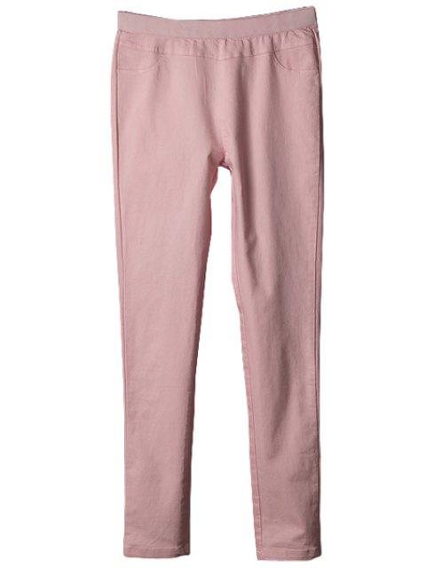 shop Solid Color Elastic Pants - PINK L Mobile