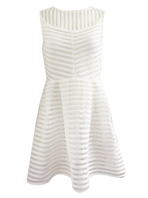 online Striped Sleeveless A-Line Dress - WHITE M Mobile