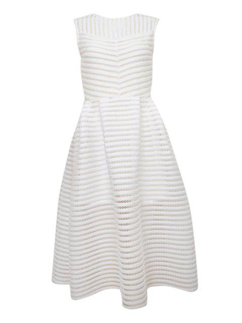 outfits Striped Solid Color Hollow Sundress - WHITE S Mobile