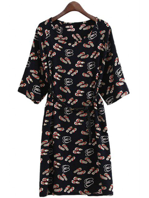 best Slippers Print Belt Half Sleeve Dress - RED ONE SIZE(FIT SIZE XS TO M) Mobile