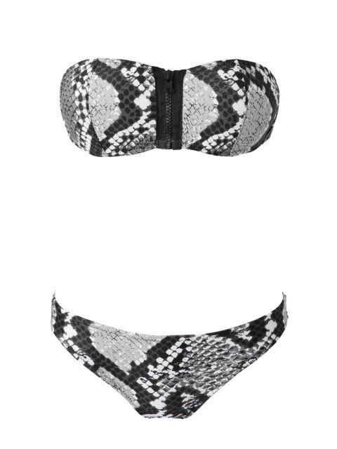 fancy Snake Pattern Strapless Bikini Set - BLACK AND GREY M Mobile