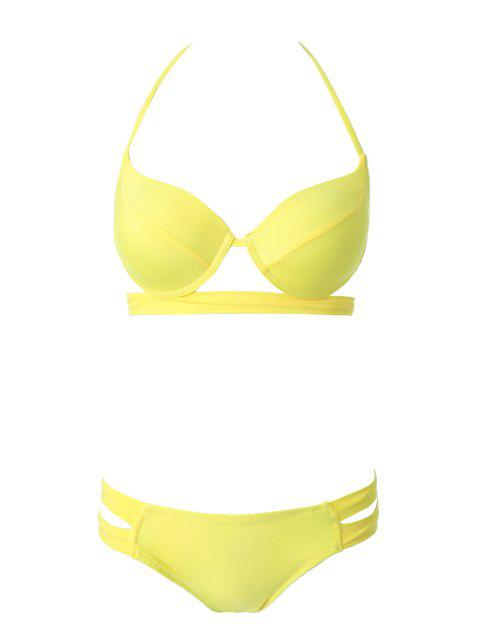 new Bandage Splicing Bikini Set - YELLOW M Mobile