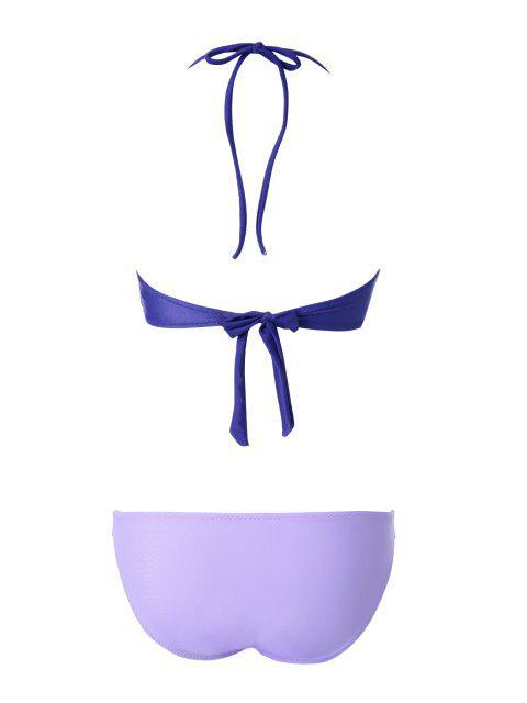 hot Openwork Bandage Bikini Set - PURPLE S Mobile