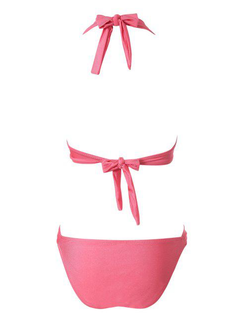 online Solid Color Push-Up Bikini Set - PINK L Mobile