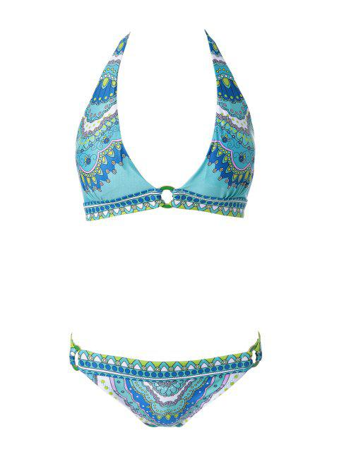 women Print Halterneck Bikini Set - GREEN L Mobile