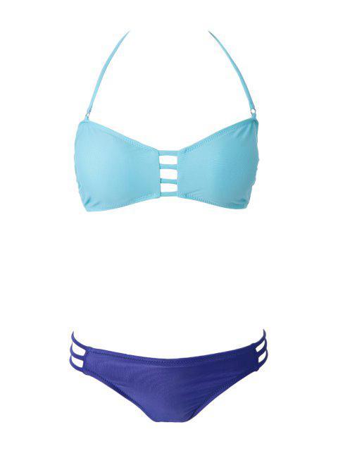 Bikini femme sexy à color block avec bandes ciselées - Vert S Mobile