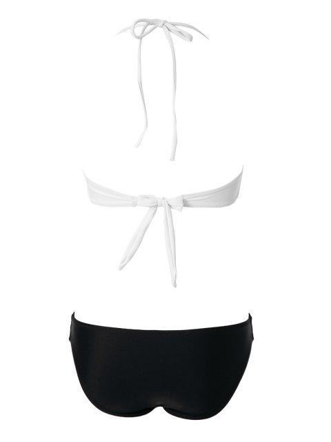 Bikini femme sexy à color block avec bandes ciselées - Blanc L Mobile