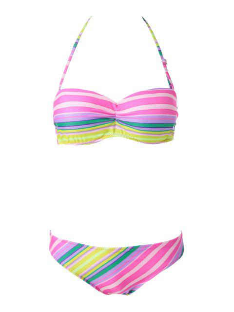 Bikinis femme sexy multicolore rayé à bustier - Rayure S Mobile