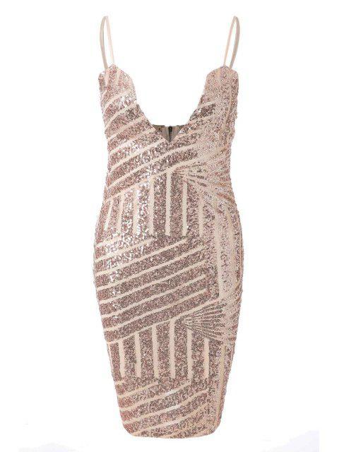 latest Spaghetti Strap Sequin Sleeveless Dress - GOLDEN S Mobile