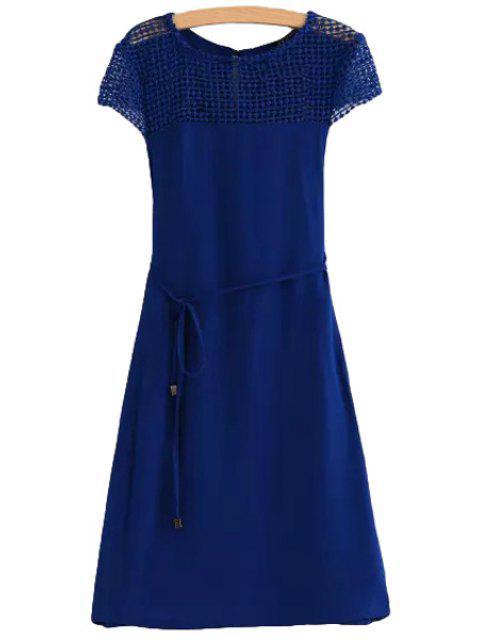 new Shoulder Lace Splicing Openwork Tie-Up Dress - BLUE L Mobile