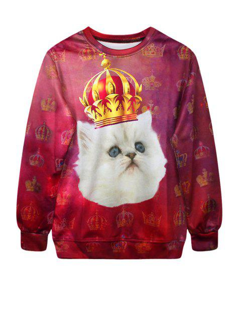 buy Cat Crown Print Long Sleeve Sweatshirt - RED ONE SIZE(FIT SIZE XS TO M) Mobile
