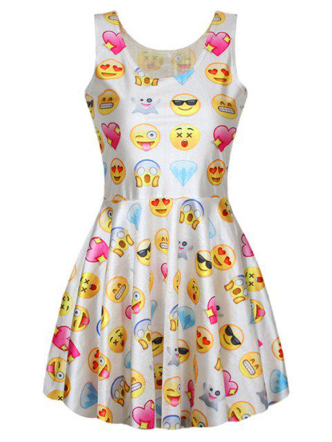 women Full Emoji Print A-Line Sundress - WHITE ONE SIZE(FIT SIZE XS TO M) Mobile
