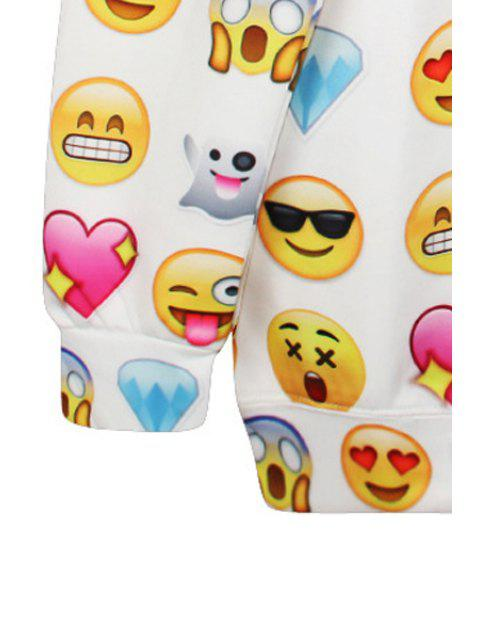 women Emoji Print Long Sleeve Sweatshirt - WHITE ONE SIZE(FIT SIZE XS TO M) Mobile