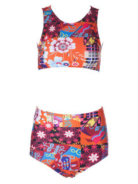 Estampado de flores talle alto Bikini Set - Colores Mezclados XL Mobile