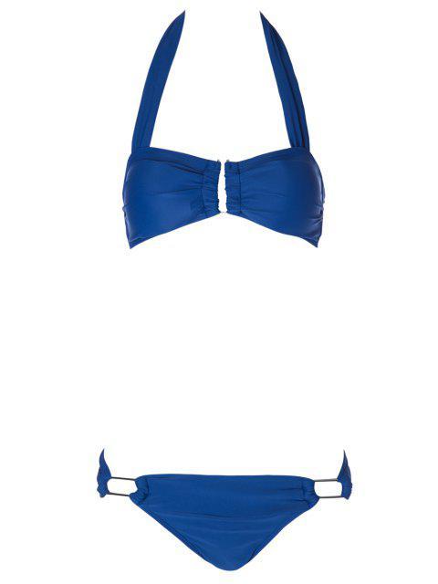 womens Solid Color Metal Halter Bikini Set - BLUE M Mobile