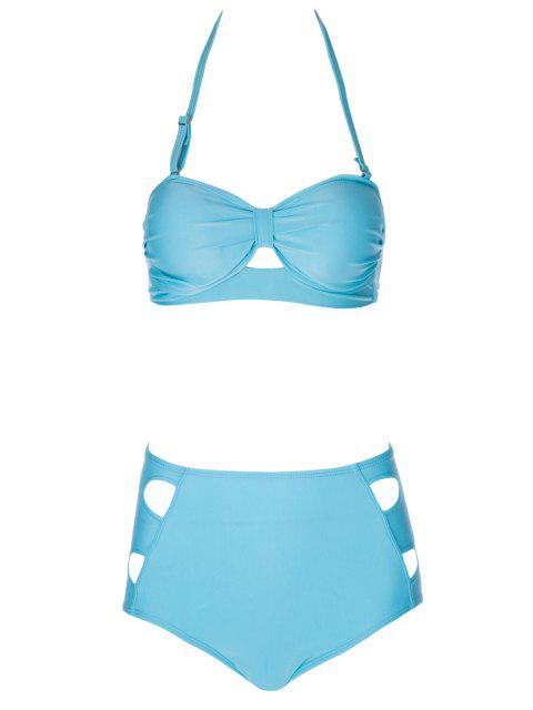 shops Solid Color High Waisted Bikini Set - LAKE BLUE S Mobile