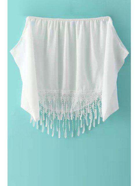 fashion Lace Spliced Chiffon Slash Neck Blouse - WHITE M Mobile