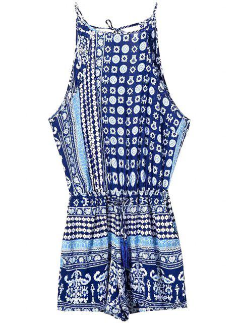 latest Blue Ethnic Print Spaghetti Straps Romper - PURPLISH BLUE L Mobile