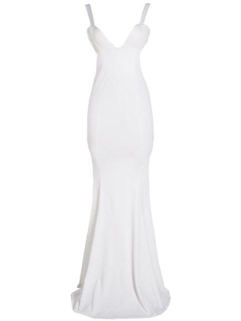 lady Solid Color Backless Sleeveless Maxi Dress - WHITE M Mobile