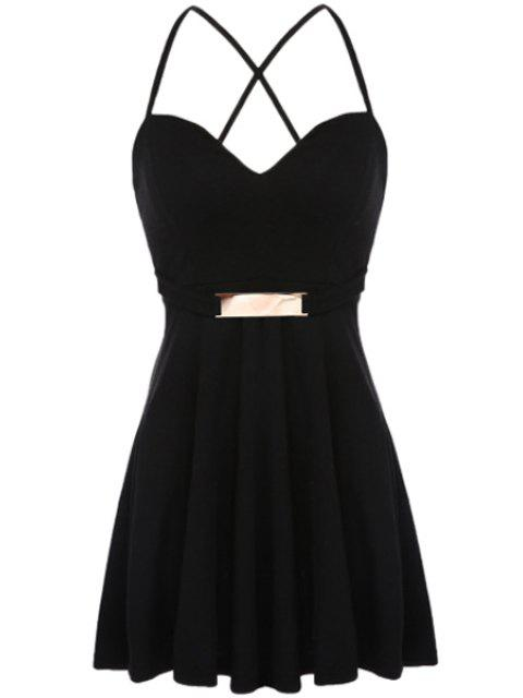 buy Solid Color Sequined Sleeveless Dress - BLACK M Mobile