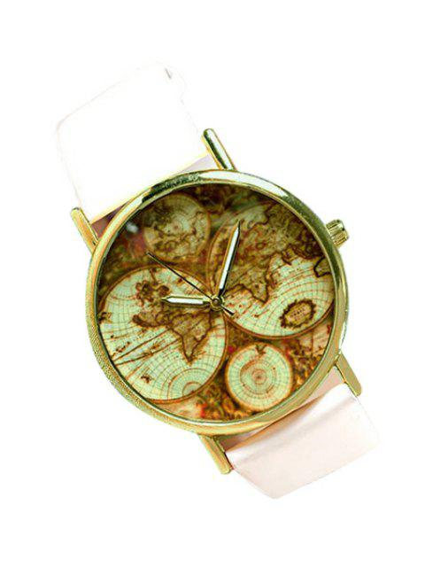 chic Map Print Watch - WHITE  Mobile
