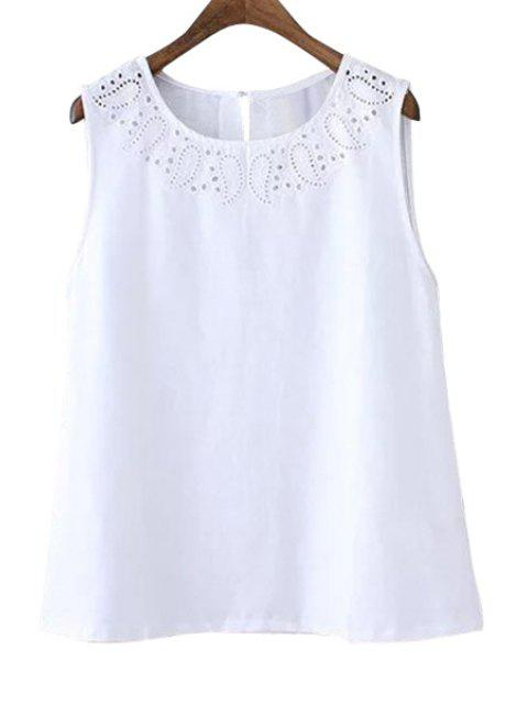 outfits Solid Color Openwork Sleeveless Tank Top - WHITE S Mobile