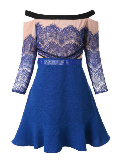 chic Slash Neck Lace Splicing Flounce Dress - BLUE L Mobile