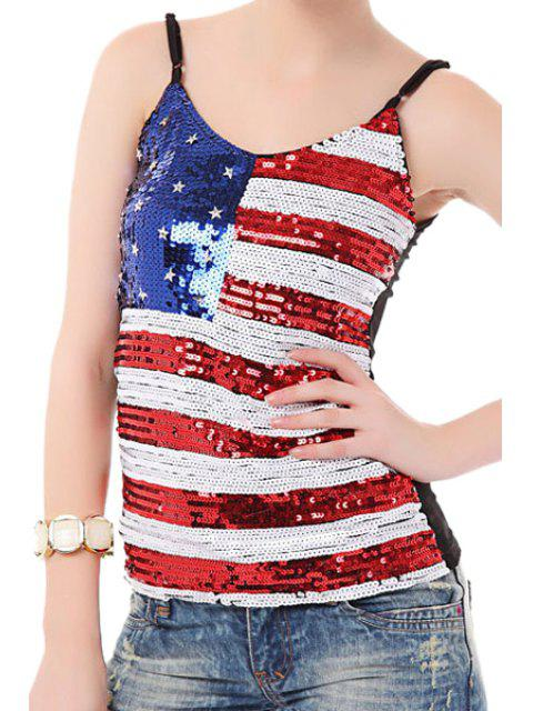 fancy American Flag Sequins Spaghetti Straps Top - COLORMIX ONE SIZE(FIT SIZE XS TO M) Mobile