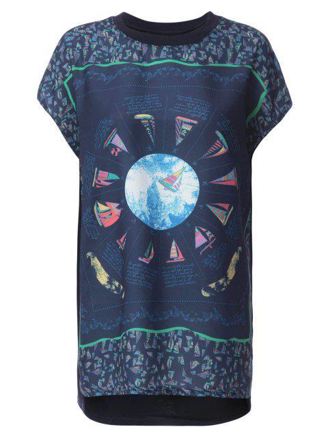 women Sailing Boat Print Short Sleeve T-Shirt - DEEP BLUE S Mobile