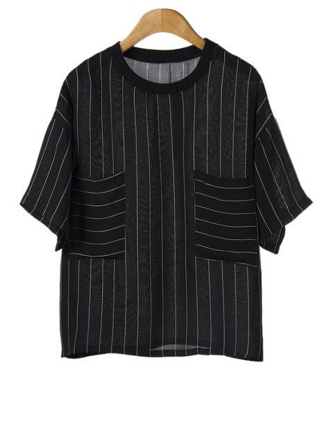 chic Striped Pockets Short Sleeve T-Shirt - BLACK ONE SIZE(FIT SIZE XS TO M) Mobile