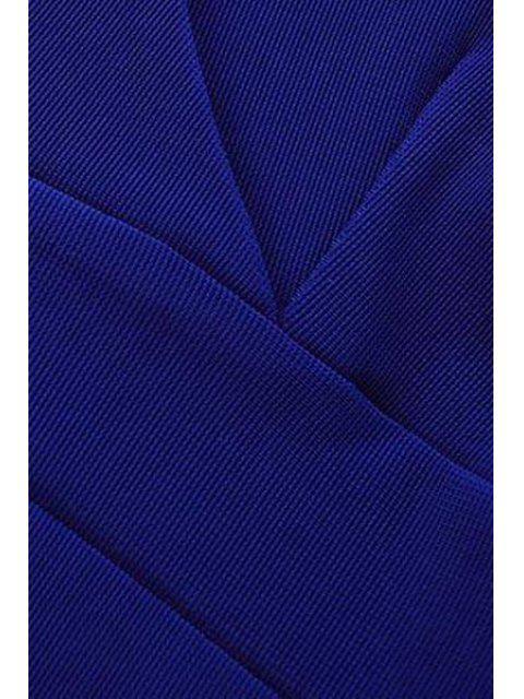outfit Blue V-Neck Sleeveless Dress - SAPPHIRE BLUE M Mobile