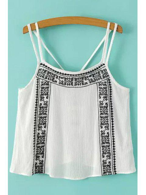 fancy Embroidery Spaghetti Strap Tank Top - WHITE M Mobile
