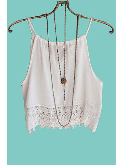 buy Solid Color Lace Splicing Tank Top - WHITE L Mobile