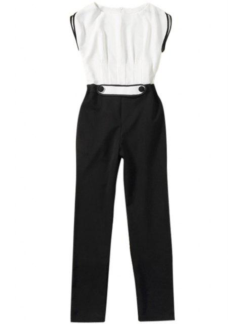chic Color Block Short Sleeve Jumpsuit - WHITE AND BLACK M Mobile