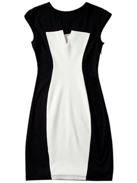shop Color Block V Neck Bodycon Dress - WHITE AND BLACK XL Mobile