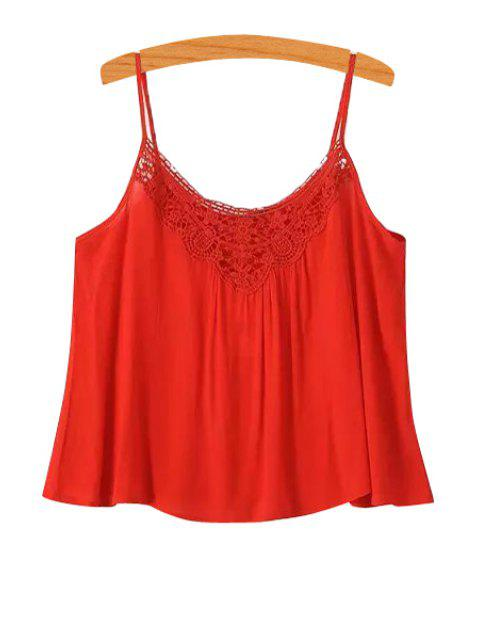 new Spaghetti Strap Solid Color Openwork Tank Top - RED L Mobile
