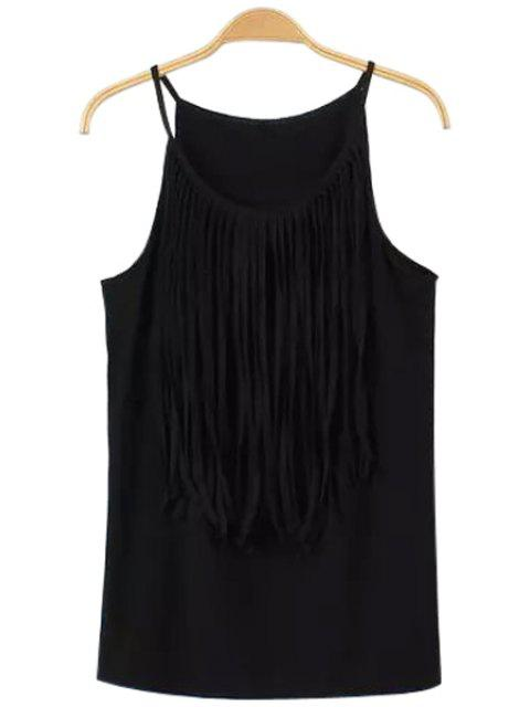 ladies Tassels Spaghetti Straps Tank Top - BLACK L Mobile