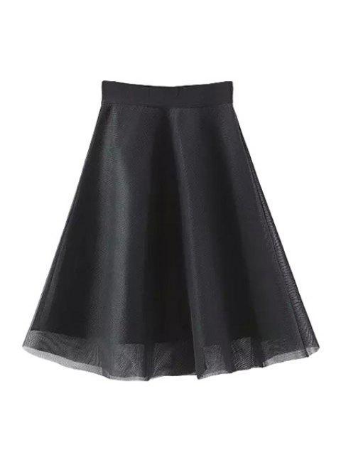 shop Solid Color Voile Splicing Zipper Skirt - BLACK L Mobile