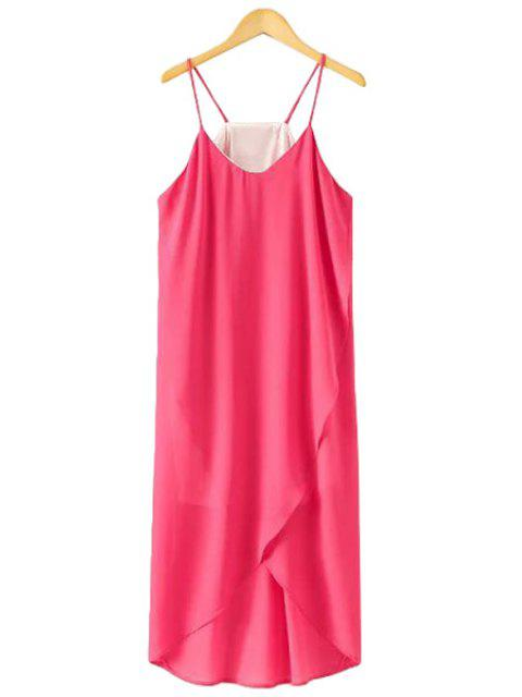 affordable Spaghetti Strap Solid Color Asymmetrical Dress - ROSE M Mobile