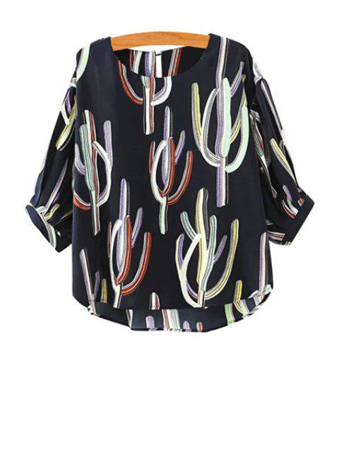 sale Cactus Print Half Sleeve Blouse - CADETBLUE M Mobile
