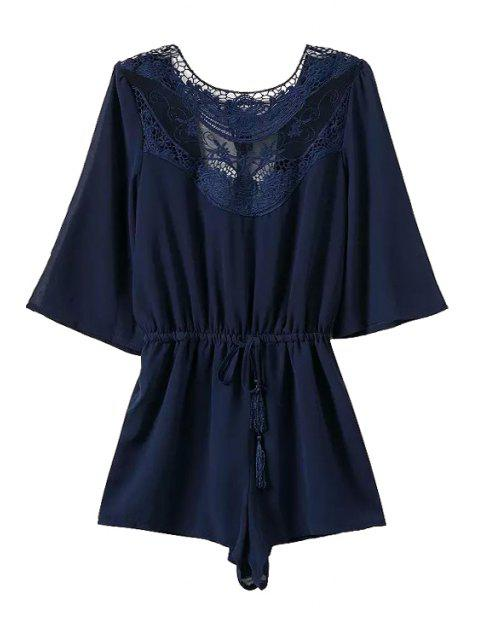 shops Lace Splicing Backless Tie-Up 3/4 Sleeve Romper - BLUE S Mobile