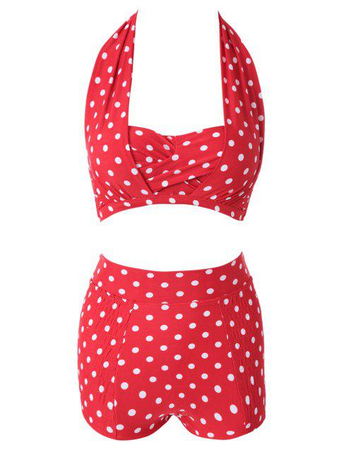 women Red Polka Dots Halter Bikini Set - RED L Mobile