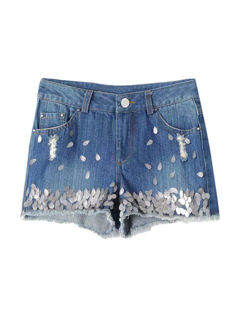 women Sequins Embellished Denim Shorts - LIGHT BLUE M Mobile