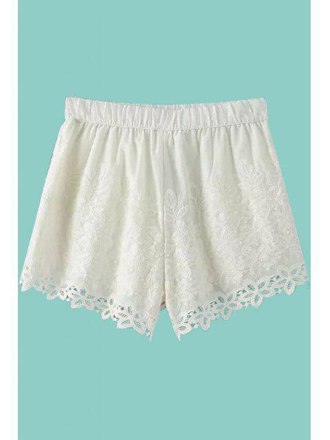 shop White Lace Elastic Waisted Shorts - WHITE M Mobile
