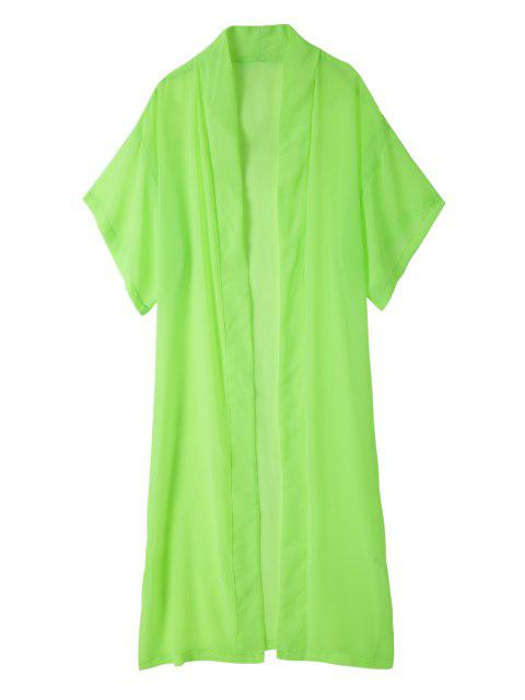 trendy Solid Color Duster Coat - GREEN M Mobile