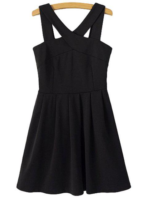 affordable Solid Color V-Neck Sleeveless Dress - BLACK M Mobile