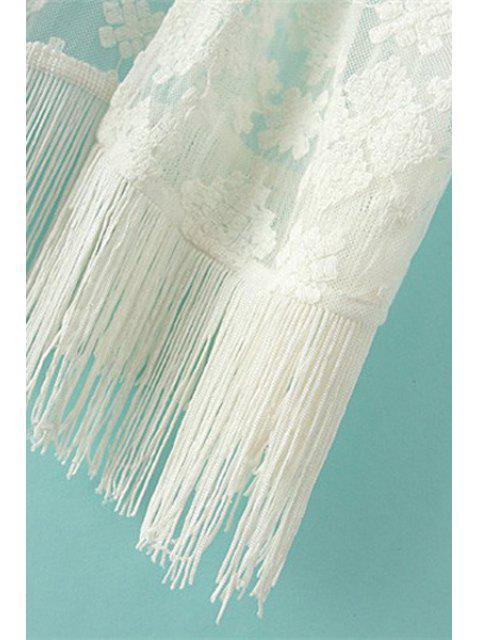 Broderie Tassels 3/4 Sleeve Kimono - RAL1001Beige S Mobile