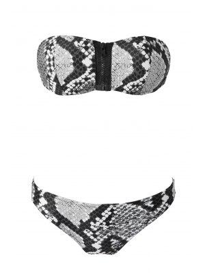 Snake Pattern Strapless Bikini Set